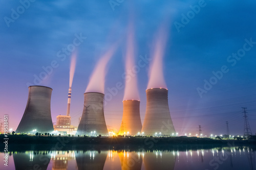 Fototapeta power plant at night obraz