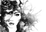 twarz kobiety. streszczenie akwarela. moda tło - 79543661