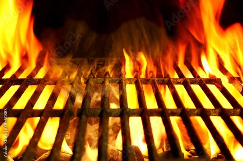 In de dag Grill / Barbecue Barbecue Flaming Grill Close-up Background
