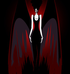 Plakat girl with dark wings