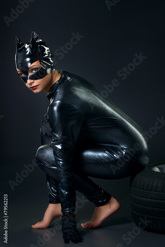 Canvas-taulu Sexy female in black catwoman costume