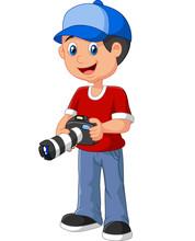 Little Boy Holding Camera