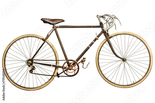 Fotobehang Fiets Vintage rusted race bike isolated on white
