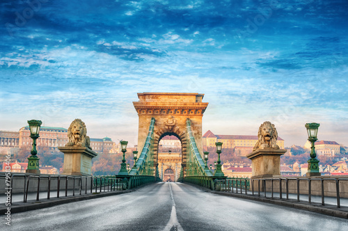 Photo  Chain bridge Budapest Hungary