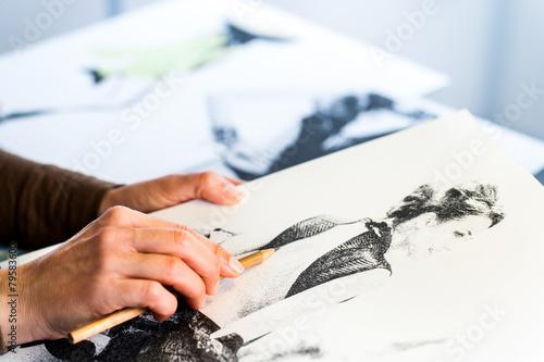 Fotografie, Obraz  Female hand making fashion sketch