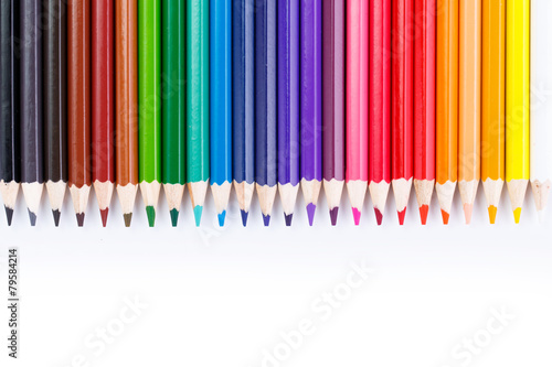 Fotografie, Obraz  Colour pencils isolated on white background