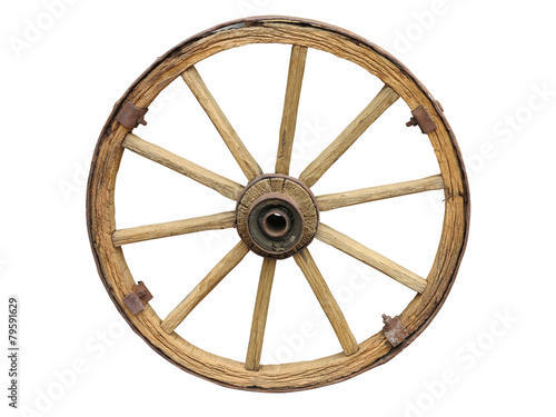 Fotografía  Antique Cart Wheel made of wood and iron-lined isolated