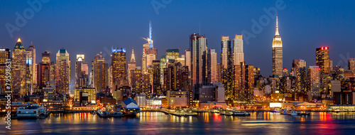 Foto op Canvas New York New York City Manhattan midtown buildings skyline night