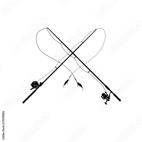 isolated fishing rod Wall mural