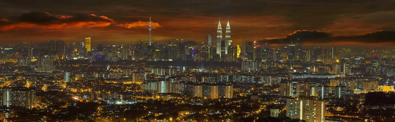 Fototapeta Kuala Lumpur Cityscape at Sunset Panorama