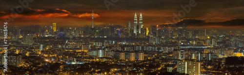 Keuken foto achterwand Kuala Lumpur Kuala Lumpur Cityscape at Sunset Panorama