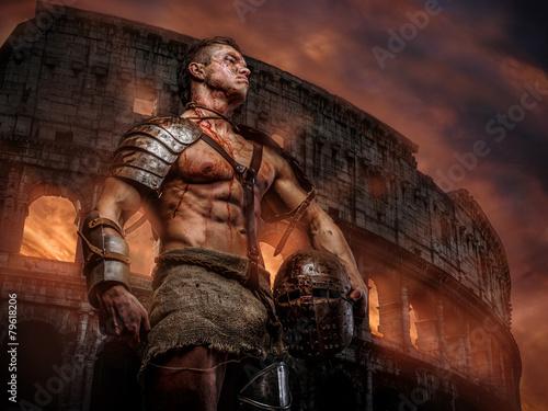 Foto  Römischer Soldat nach dem Kampf