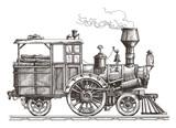 steam locomotive vector logo design template. train or transport
