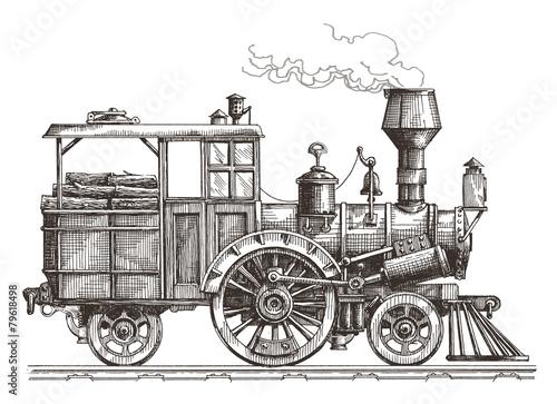 steam locomotive vector logo design template. train or transport Fototapeta