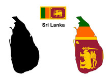 Sri Lanka Map And Flag Vector,...
