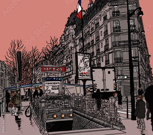 Acrylic Prints Art Studio View of a street in Paris with metro station
