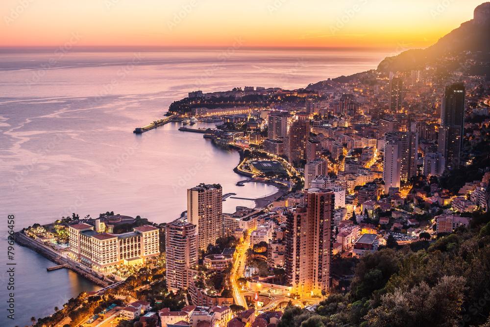 Fototapety, obrazy: Wieczorny widok na Montecarlo, Monaco, Cote d'Azur, Europa