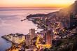 Leinwanddruck Bild - Evening view of Montecarlo, Monaco, Cote d'Azur, Europe