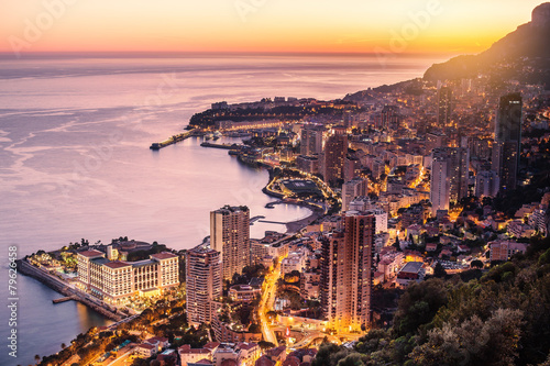 Poster  Evening view of Montecarlo, Monaco, Cote d'Azur, Europe