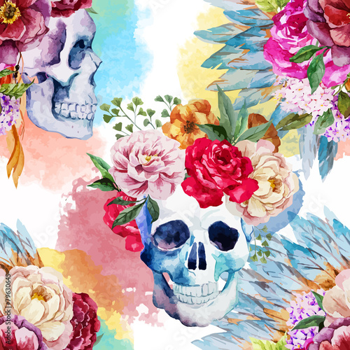 Cadres-photo bureau Crâne aquarelle Ethnic skull