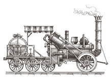 Train Vector Logo Design Template. Steam Locomotive Or Transport