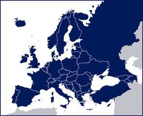 Fototapeta Europe Political Blank Map