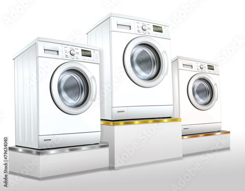 Photo  Waschmaschine, Waschvollautomat auf Siegerpodest, freigestellt