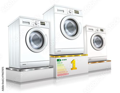 Waschmaschine, Waschvollautomat auf Siegerpodest, freigestellt Poster
