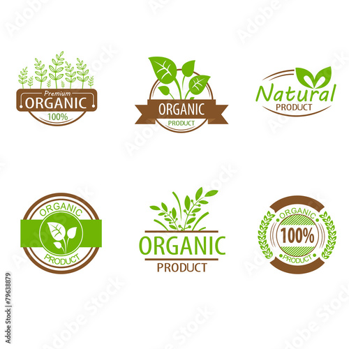 Fotografie, Obraz  Round eco green stamp label of healthy organic natural fresh
