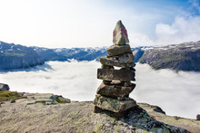 Stone Cairn On Norwegian Mount...