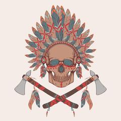 Panel Szklany Boho Vector illustration of human skull in native american headdress