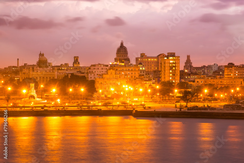 Sunset in Old Havana vith a view of the Capitol Canvas Print