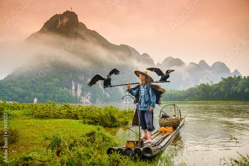 Cormorant FIsherman in Guilin, China on the Li River. Wallpaper Mural
