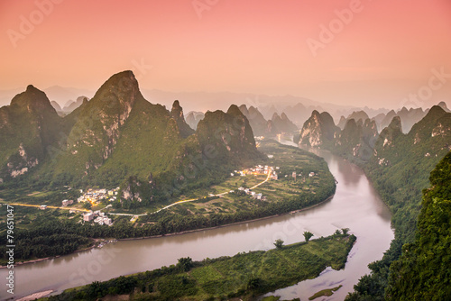Karst Mountains Landscape in Xingping, China
