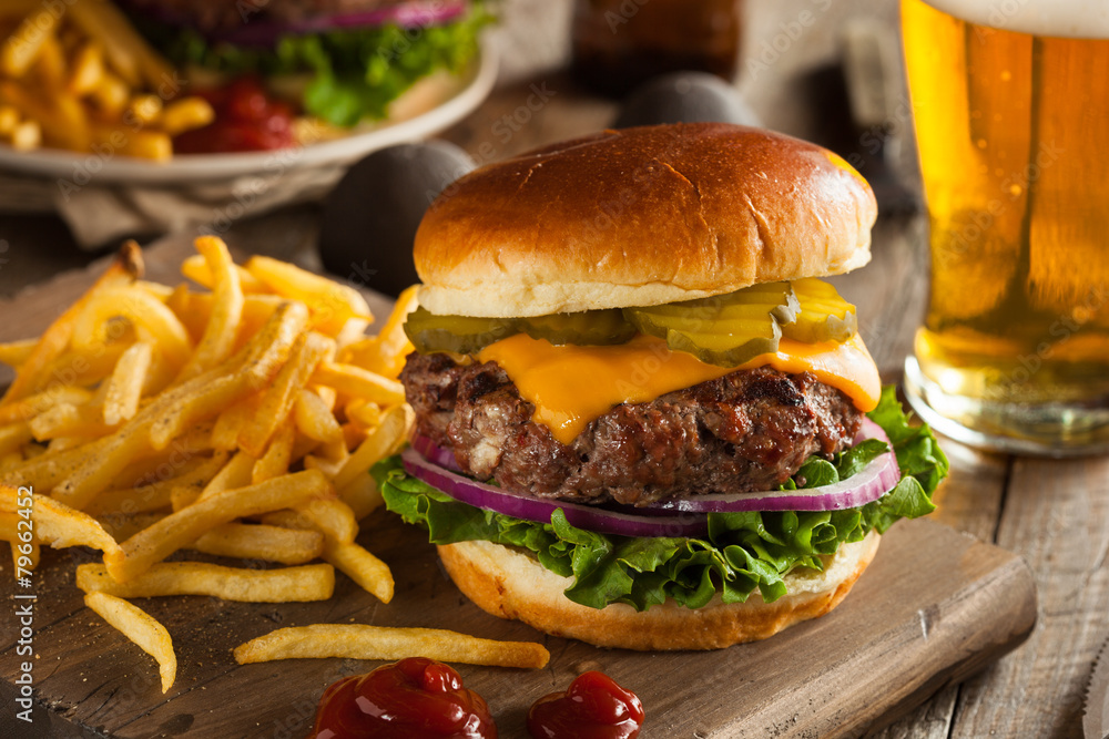 Fototapety, obrazy: Grass Fed Bison Hamburger
