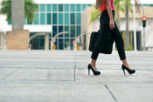 Business Woman Commuting Going To Office By Walk