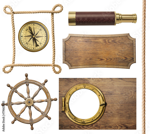 Deurstickers Retro nautical objects rope, compass, steering wheel, signboard