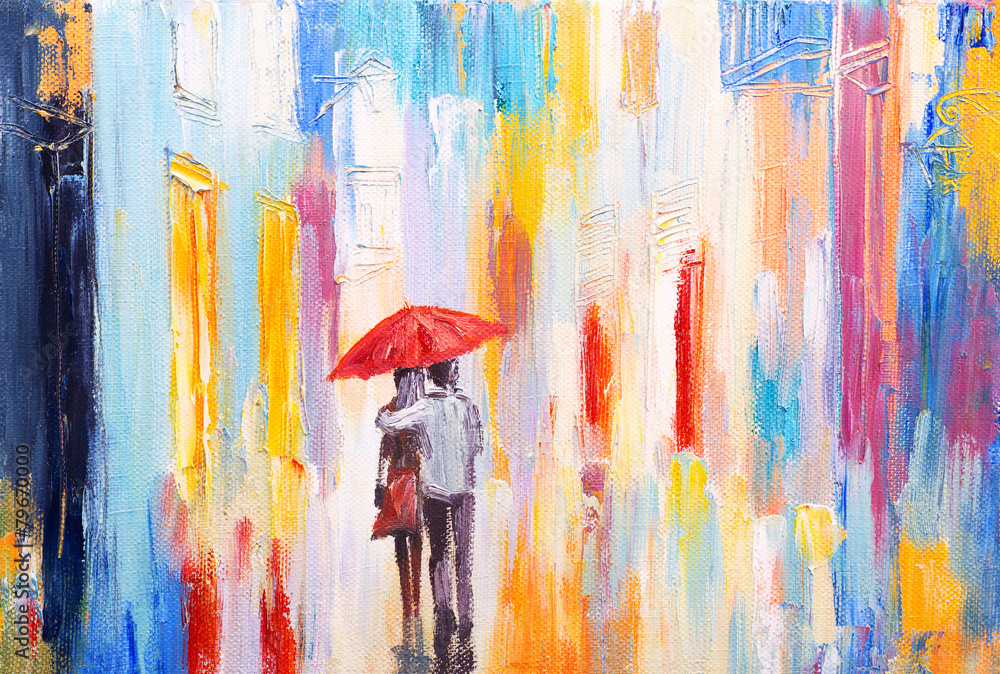 Fototapety, obrazy: couple is walking in the rain under an umbrella, abstract colorf