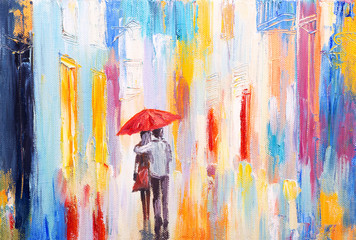 Plakat couple is walking in the rain under an umbrella, abstract colorf