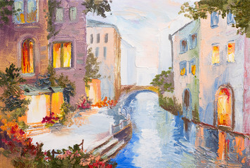 Obraz na SzkleOil painting - canal in Venice, Italy, modern impressionism, col