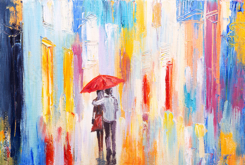 Fototapeta couple is walking in the rain under an umbrella, abstract colorf obraz