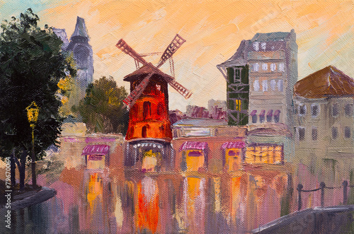 Oil painting cityscape - Moulin rouge, Paris, France