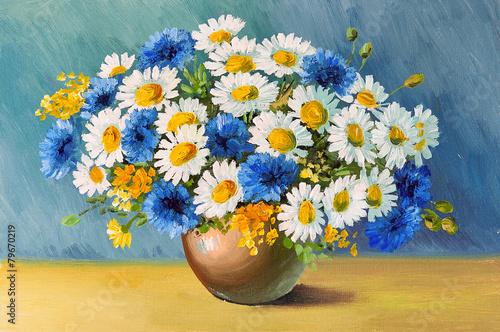 Obraz Wiosenne kwiaty, chabry i stokrotki, obraz malowany na płótnie - fototapety do salonu