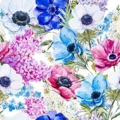 Panel Szklany Podświetlane Kwiaty Anemones flowers pattern