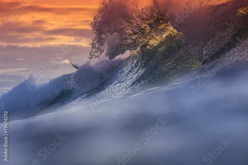 Staande foto Water Colored Ocean Wave