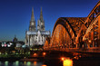 Cologne Cathedral and the railway bridge in the night