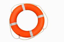 Single Orange Lifebuoy Isolate...
