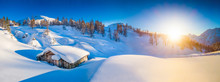 Winter Landscape In The Alps At Sunset With Old Mountain Cottage