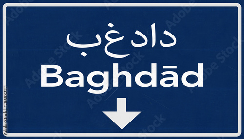 Fotografija  Baghdad Highway Road Sign
