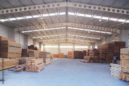 Wallpaper Mural carpenter billet wood production hall